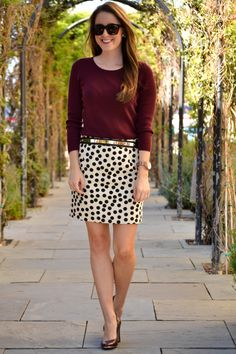 j.crew polka dot skirt