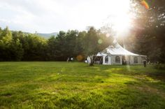Gorgeous setting for a Vermont Country Style Wedding.  The Tent at the edge of the forest at Mad River Barn. www.madriverbarn.com