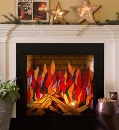 Stained Glass Roaring Fire Screen features 116 individual pieces of cut glass - stunning!