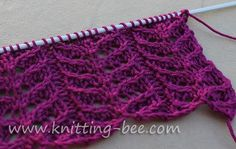 Simple lace stitch knitting pattern worked over four rows! Abbreviations: k = knit p = purl k2tog = knit 2 stitches together. ssk = slip, slip, knit. Slip two stitches knitwise one at a time onto the right needle, stick point of left needle in two slipped stitches in front of the right needle and… by kathy.lamont.12