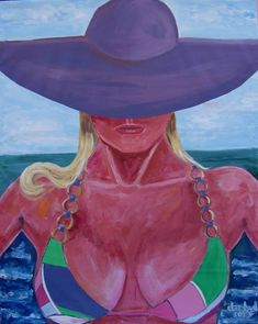 BEACH HAT Original Art PAINTING DAN BYL Modern Contemporary Huge 4x5 ft Canvas   #FreedomOfArt  Join us, SUBMIT your Arts and start your Arts Store   https://playthemove.com/SignUp