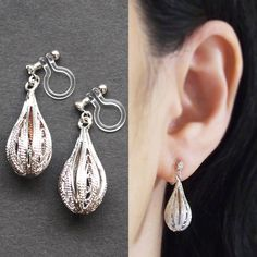 Dangle Silver Teardrop Invisible Clip On Earrings Pierced Look Mesh Balloon Comfortable