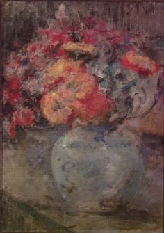 """Olga Boznańska """"Martwa natura z kwiatami"""", 1930, olej na tekturze, 43,8 x 32,4 cm, własność prywatna"""