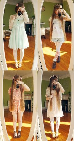 Dreaming with fae creatures. Dolly Fashion, Lolita Fashion, Gothic Fashion, Japanese Fashion, Asian Fashion, Casual Outfits, Cute Outfits, Sweet Dress, Pretty Dresses