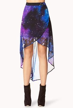 Cosmic Layered High-Low Skirt. WANT! Saw it at Forever 21 but they didn't have my size :(