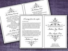 Victorian Romance Half Fold Wedding Program Template Microsoft Word | Classic Black Wedding Program | EDITABLE TEXT | Any Color & Size by PaintTheDayDesigns, $7.75