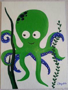 Acrylic painting on canvas. Cute octopus under the sea nursery theme