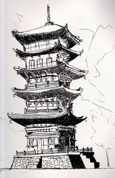 Image result for japanese temples drawings