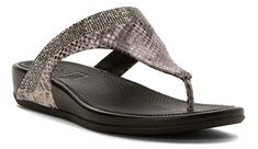 A sleek, stylish design accented with snakeskin and microcrystals gives the Fit Flop Banda Crystal IMI ? Snake Toe Post sandal a chic look, while a SUPERCOMFF? Clogs, Wedge Sandals, Shoes Sandals, Fitflop, All In One, Fashion Brands, Snake, Topshop, Wedges