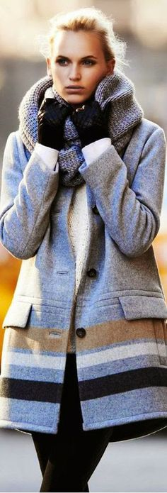Street style grey and brown coat with leather gloves