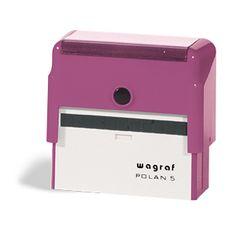 Automat Wagraf Polan 5 - dość duża powierzchnia gumki (7,0 x 2,6 cm) umożliwia umieszczenie większej ilości treści na pieczątce.