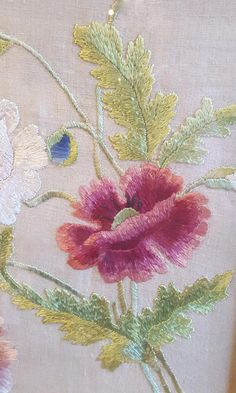Crewel Embroidery Vintage Embroidered Flowers on Linen Embroidery Floral Needlework Crewelwork Textile Framed Crewel Embroidery Kits, Vintage Embroidery, Floral Embroidery, Embroidery Patterns, Modern Embroidery, Seed Stitch, Brazilian Embroidery, Satin Flowers, Satin Stitch