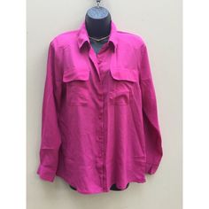 Fuchsia Button Down with Side Slips •Size: Tag says Medium, fits like a Large •Condition: Great/no flaws! •Description: button down with front pockets and 3in side slits.    •Follow me on insta! @shopunafresa! Let me know you're a Posher too so I can follow back! kim carter Tops Button Down Shirts