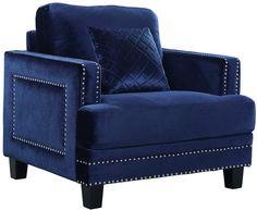 Verlaine Ferrara Navy Velvet Chair