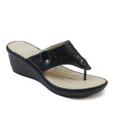 Look what I found on #zulily! Black Whipstitch Platform Sandal by Italina #zulilyfinds