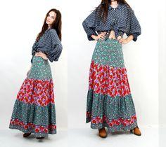 70s Gypsy Skirt / Long Floral Skirt / Boho Skirt / Festival Skirt / Roses Print Skirt / Cotton Skirt / Maxi Skirt / Medium Skirt by Ramaci on Etsy