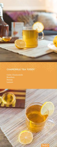 Unwind with a deliciously relaxing Hot Tea Toddy! Instructions: Steep Calm Chamomile in a mug, then add two parts bourbon to one part honey. Garnish with a lemon and enjoy!