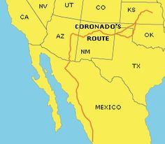 Map Of Francisco Vasquez De Coronado Expedition Google Search - Map of us explorers coronado la salle