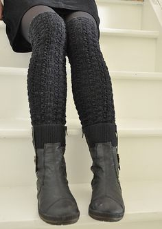 knitted over-the-knee tights with low boots - worn with a short skirt and black tights gives just the right level of cuteness, edginess, and sexiness!  :)
