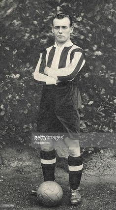 Football, 1920+s, Newcastle United and Scotland International centre-forward Hughie Gallacher poses for the camera, Gallacher was widely regarded as one of the best strikers of all time despite his diminutive stature- he was 5+5+, He led Newcastle to the League title in 1927, and his career at the top level from 1920-1939 netted him 463 goals in 624 senior matches, Tragically, after personal problems he committed suicide, throwing himself under a train