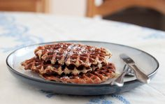Gluten-free and vegan banana coconut waffles are a cozy and healthy weekend breakfast. Almond meal and fine coconut make these taste like a macaroon!