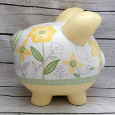 Bright Blossom Personalized Piggy Bank in Yellow and Green Flowers Personalized Piggy Bank, Personalized Gifts, The Little Couple, Piggy Banks, Baby Coming, Porcelain Ceramics, Green Flowers, Clay Projects, Custom Items