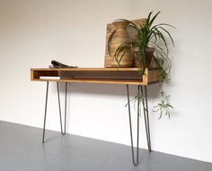 Oldfield Tall Hall Console Sideboard Table 85cm High, on Metal Hairpin Legs