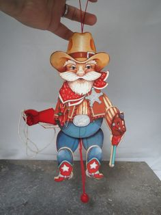 """Wooden Cowboy Santa Jumping Jack Pull String Toy 10"""" Ornament WORKS GREAT!"""