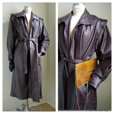 Vintage Maxi leather coat. Fabulous accentuated shoulders and deep burgundy color.