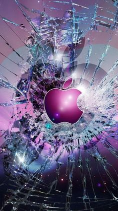 Apple Logo Broken Glass iPhone 6 Wallpaper