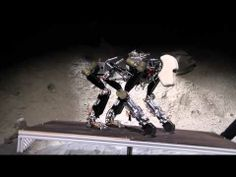 The robot shifts its center of mass in realtime, based on the slope it is walking on.