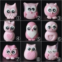 Cupcakes à la mode fondant anniversaire fimo Ideas - cupcake versieren Polymer Clay Owl, Polymer Clay Kunst, Polymer Clay Animals, Fondant Owl, Fondant Animals, Owl Cakes, Bird Cakes, Ladybug Cakes, Owl Cake Toppers