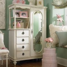 Shabby Chic Mirror Door Chest...so pretty for a girls pink bedroom