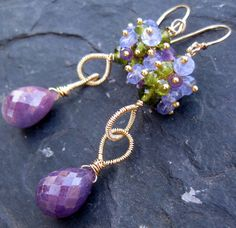 Tanzanite and purple sapphire earrings in 14k gold fill --Tracey