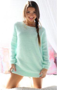 Warm Kisses Knit Jumper Dress in Ice Blue