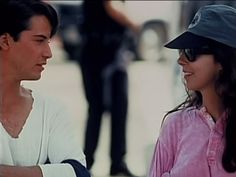 Keanu Reeves and Kathryn Bigelow on the set of Point Break (1991)