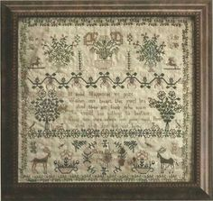 LA~D~DA:  Eliza Mitchell - 1824 Reproduction Cross Stitch Sampler Pattern by Lori Markovic - Cross Stitch Reproduction Chart, Leaflet