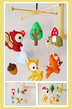Baby Crib Mobile - Nursery Mobile - Forest Friends - Woodland Friends Bunny, Fox, Deer, Owl, Porcupine design(Custom Color Available)