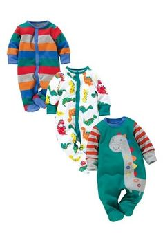 Buy Dinosaur Sleepsuits Three Pack (0mths-2yrs) from the Next UK online shop