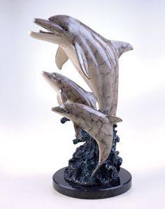 Trio Dolphins Fine Art Sculpture