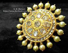 An elegant diamond polki cocktail ring with double coated pearls | Kundan Meena Jewelry | Bridal Jewelry | Traditional Indian Jewelry | Wedding Jewelry