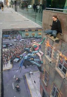 Street Art - Batman and Robin in action
