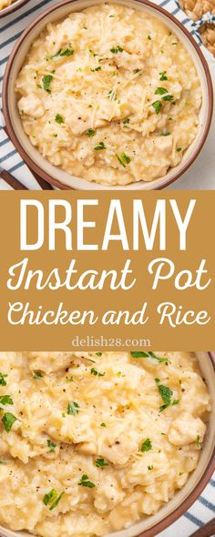 DREAMY INSTANT POT CHICKEN AND RICE Instant Pot Chicken And Rice Recipe, Chicken And Rice Crockpot, Creamy Chicken And Rice, Chicken Rice Recipes, Instant Pot Dinner Recipes, Crockpot Recipes, Cooking Recipes, Healthy Recipes, Instant Pot Meals