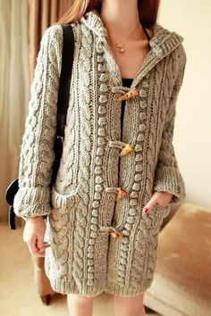 Women's Hand Knitted Hooded Coat 1F