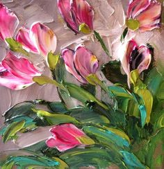 Canvas Original Oil Painting Shades of Pink by IronsideImpastos, $42.00