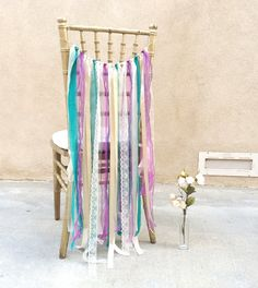 Ribbon Garland Ribbon Chair Cover Wedding Chair by LuckyYouLuckyMe, $36.00
