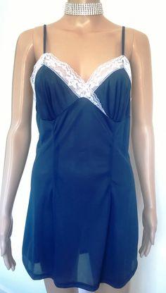 Vintage Babydoll Lace Slip Dress 1970/60's Navy Blue Perlon Nightie Vintage Lingerie by RadicalMaudVintage on Etsy