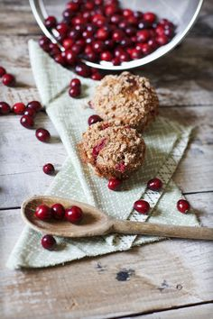 Cinnamon Streusel & Cranberry Muffins.  Can be made vegan.