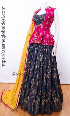 CHOLI-Raas The Global Desi-[wedding_lehengas]-[indian_dresses]-[gown_dress]-[indian_clothes]-[chaniya_cholis] Indian Gowns Dresses, Indian Fashion Dresses, Indian Designer Outfits, Choli Designs, Lehenga Designs, Saree Blouse Designs, Designer Party Wear Dresses, Kurti Designs Party Wear, Designer Gowns