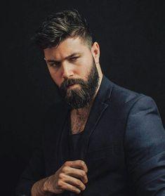 Medium Beard Styles, Beard Styles For Men, Hair And Beard Styles, Hair Styles, Mens Hairstyles With Beard, Haircuts For Men, Hairstyle Men, Style Hairstyle, Barba Sexy